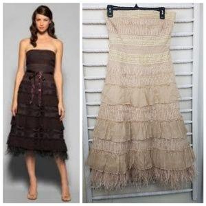 BCBG Tiered Lace Feathered Hem Strapless Dress